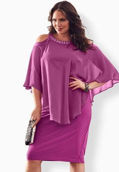 Cold-Shoulder Popover Dress,