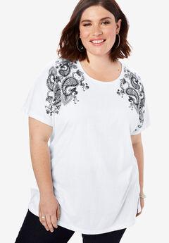 Embellished Tunic with Side Slits, WHITE PAISLEY