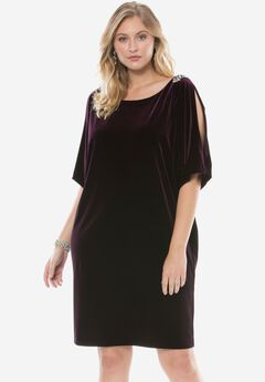 Scoopneck Velvet Dress by Alex Evenings,