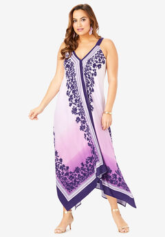 Scarf-Print Maxi Dress with Handkerchief Hem,