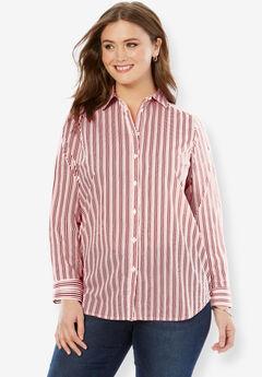Long-Sleeve Kate Shirt, DARK CHERRY STRIPE
