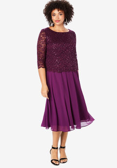 Embellished Lace & Chiffon Dress,