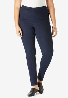 Skinny-Leg Pull-On Stretch Denim Jean by Denim 24/7®,