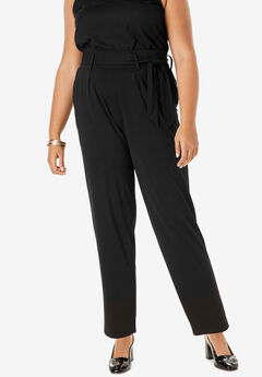 Pleated Pull-On Pant with Tie Sash, BLACK
