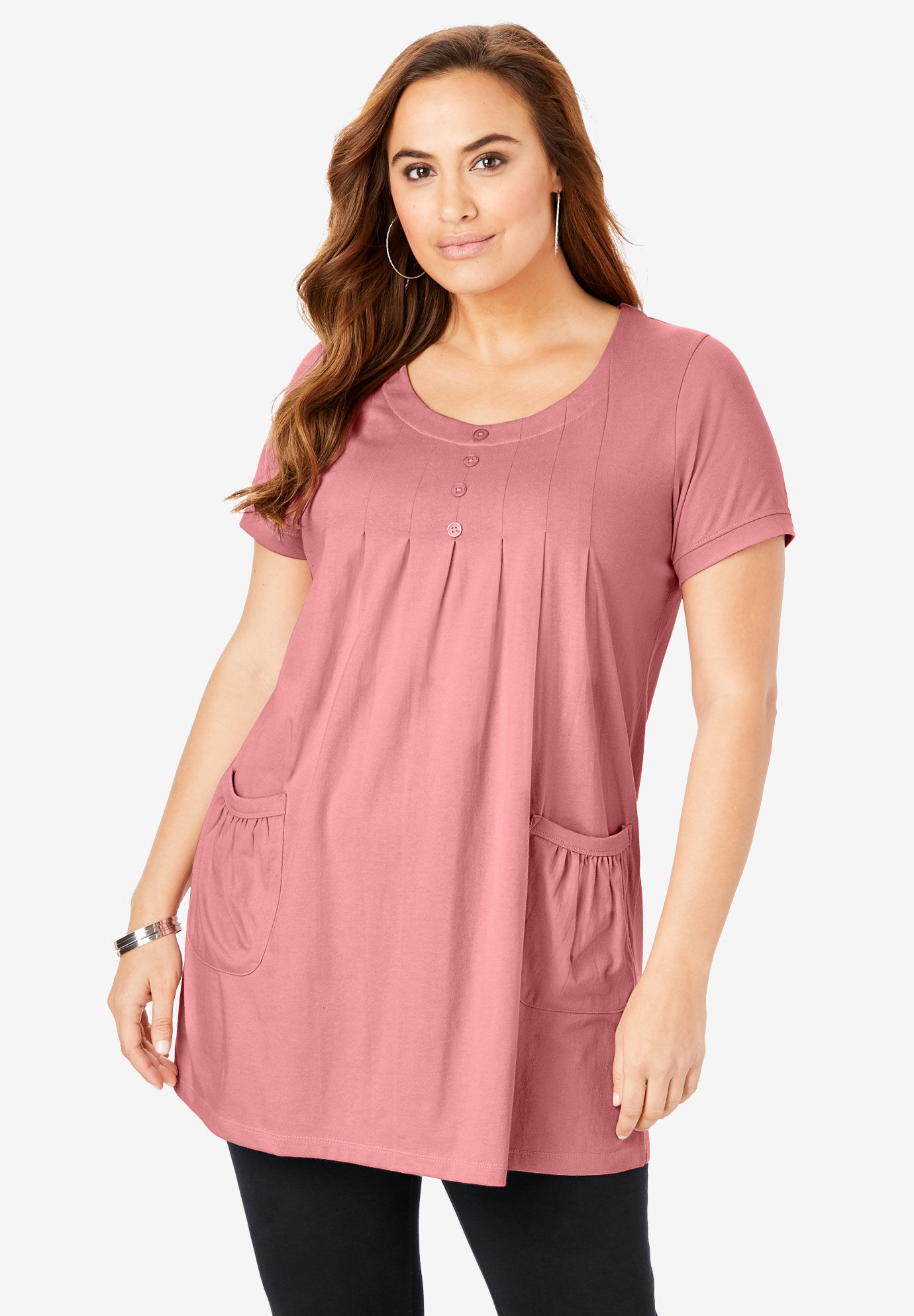 New Ladies Dusty Pink Gathered Side Plus Size Tunic Top 16-32
