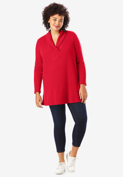Thermal Shawl Collar Tunic,