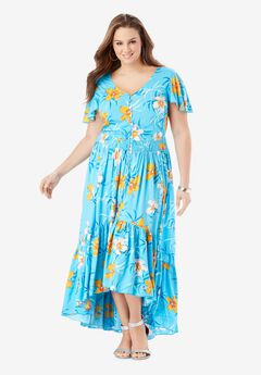 Button-Front Maxi Dress with High-Low Hem, TROPICAL PARADISE