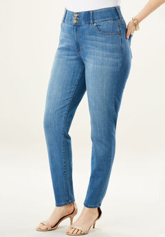 The Skinny-Leg Curvy Jean by Denim 24/7®, LIGHT STONEWASH