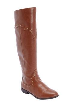 The Sirena Wide Calf Boot by Comfortview®, COGNAC