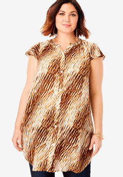 Flutter-Sleeve Crinkle Tunic, NATURAL TEXTURED ANIMAL