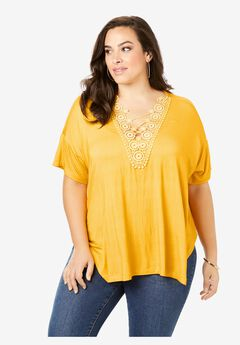 Lace V-Inset Tee,