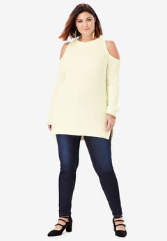 Cold-Shoulder Sweater with Shaker-Stitch, IVORY