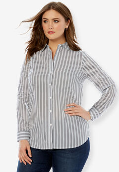 Long-Sleeve Kate Shirt, NAVY STRIPE