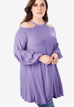 Cold-Shoulder Drape Maxi Tunic, PURPLE LILY