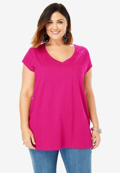 V-Neck Ultimate Tee, VIVID PINK