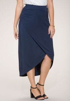 Faux Wrap Maxi Skirt,