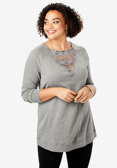 Lace Sweatshirt, MEDIUM HEATHER GREY