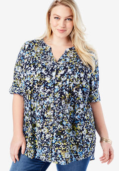 High-Low Pintuck Tunic, SMALL BLUE FLOWER
