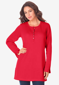 Thermal Henley Tunic, VIVID RED