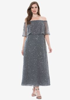 Off-The-Shoulder Sequin Dress by Pisarro Nights ,
