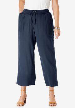 Crinkle Wide-Leg Crop Pant,