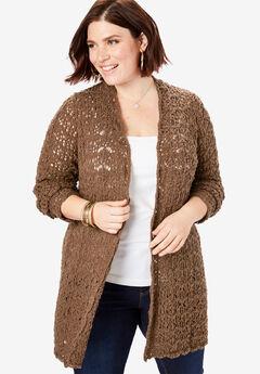 Crochet Cardigan, NUTMEG