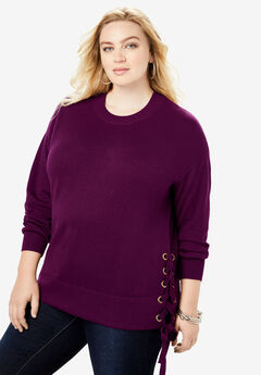 Side-Lace Pullover Sweater,
