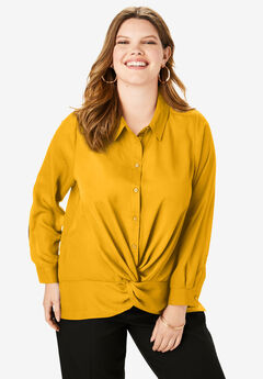 Knot-Front Blouse, SUNSET YELLOW