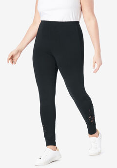 Lace-Inset Legging, BLACK