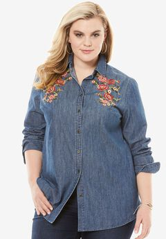 Embroidered Denim Shirt,