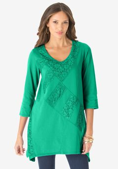 Patchwork Lace Tunic, TROPICAL EMERALD