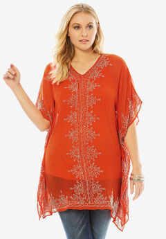 Hand-Beaded Caftan Top, FLAME RED