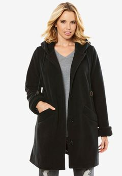 Hooded Button-Front Sherpa Coat,