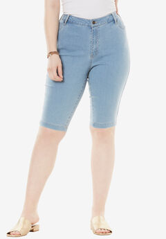 Bermuda Shorts with Invisible Stretch® Waistband by Denim 24/7®,