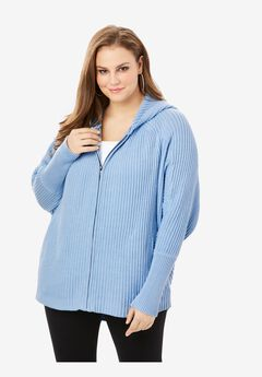 Hoodie Cardigan with Dolman Sleeves,