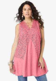 Lace-Trim Sleeveless Tunic,