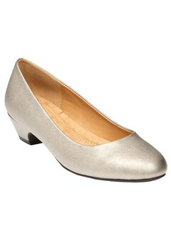 Haley Leather Pump with Folded Edge by Comfortview,