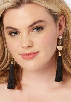 Geometric Tassel Earrings, BLACK