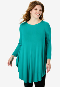 Boatneck Drape Maxi Tunic with Bracelet Sleeves,