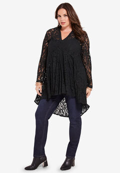 Fit-and-Flare Lace Tunic, BLACK