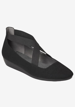 March Over Wedge by Aerosoles®, BLACK STRETCH