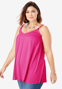 V-Neck Cami with Adjustable Straps,