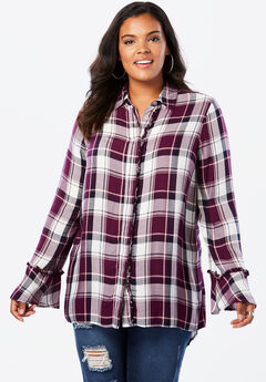 Ruffle Plaid Tunic with Bell Sleeves, PINK MULTI PLAID