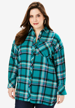 Flannel Tunic, GEMSTONE PLAID