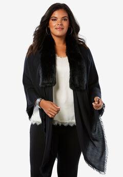 Faux Fur and Pashmina Wrap,