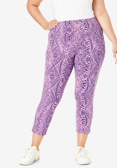 Essential Stretch Capri Legging, PURPLE IKAT PRINT