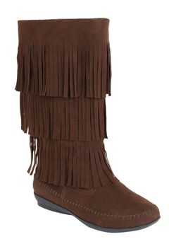 Sherry Suede-Like Fringe Boot by Comfortview,