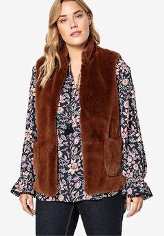 Faux Fur Vest Castaluna by La Redoute, BROWN