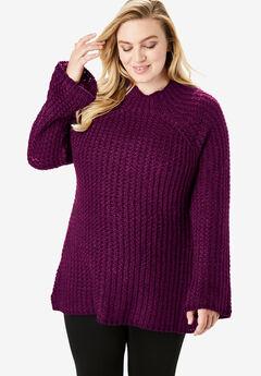 Tweed Mockneck Sweater, DARK BERRY BERRY TWIST