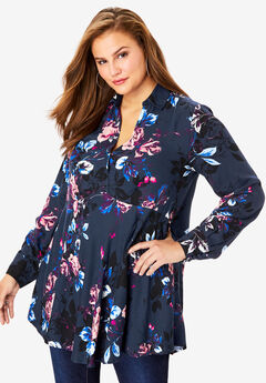 Fit-And-Flare Tunic, NAVY BOUQUET